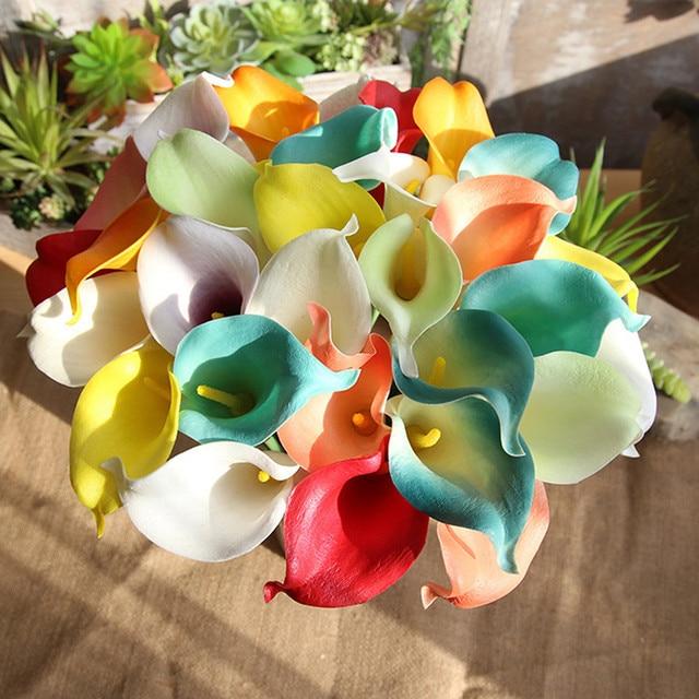 5 Stucke Kunstliche Blumen 8 Farben Pu Calla Lily Braut Hochzeit