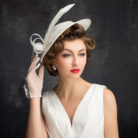 White Party Sinamay Hats For Wedding British Style Ladies Vintage Formal Dress Ladies Fedora Kentucky Derby Church Hat Women M95