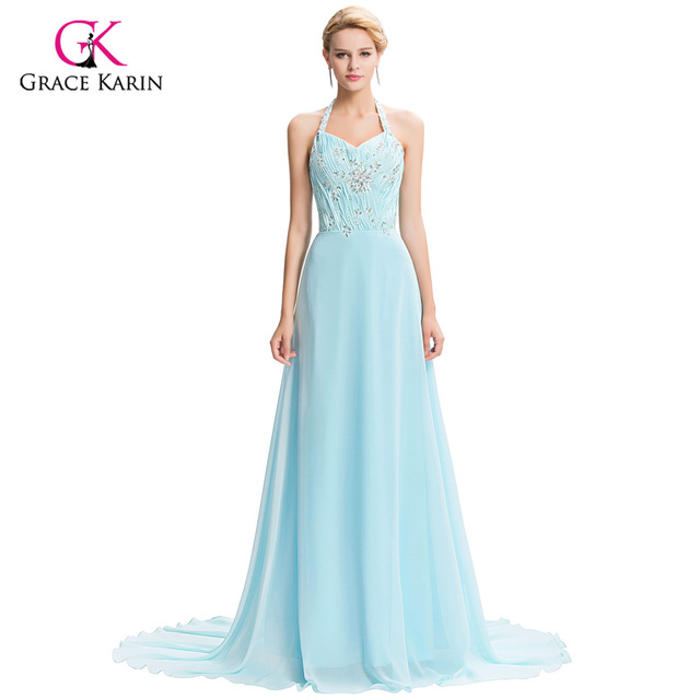 Formal Evening Dresses Grace Karin A-Line Halter crystals beaded Long Women Gown Vestido Summer Style Special Occasion Dresses