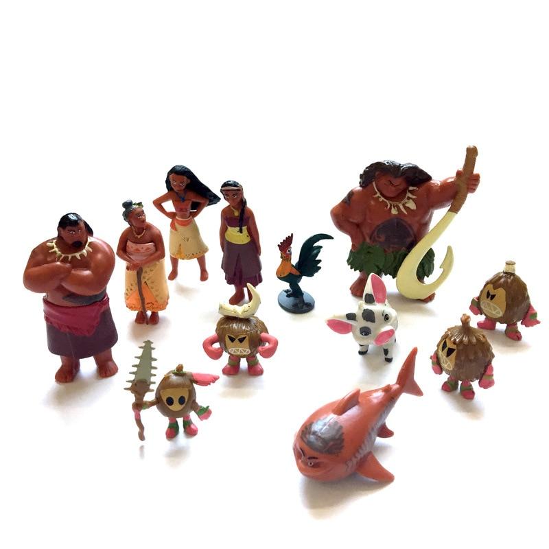 12 Pcs/lot Moana Action Figures Waialiki Maui Heihei Adventure Moana Doll PVC Model Princess Toy Collection Children Gift