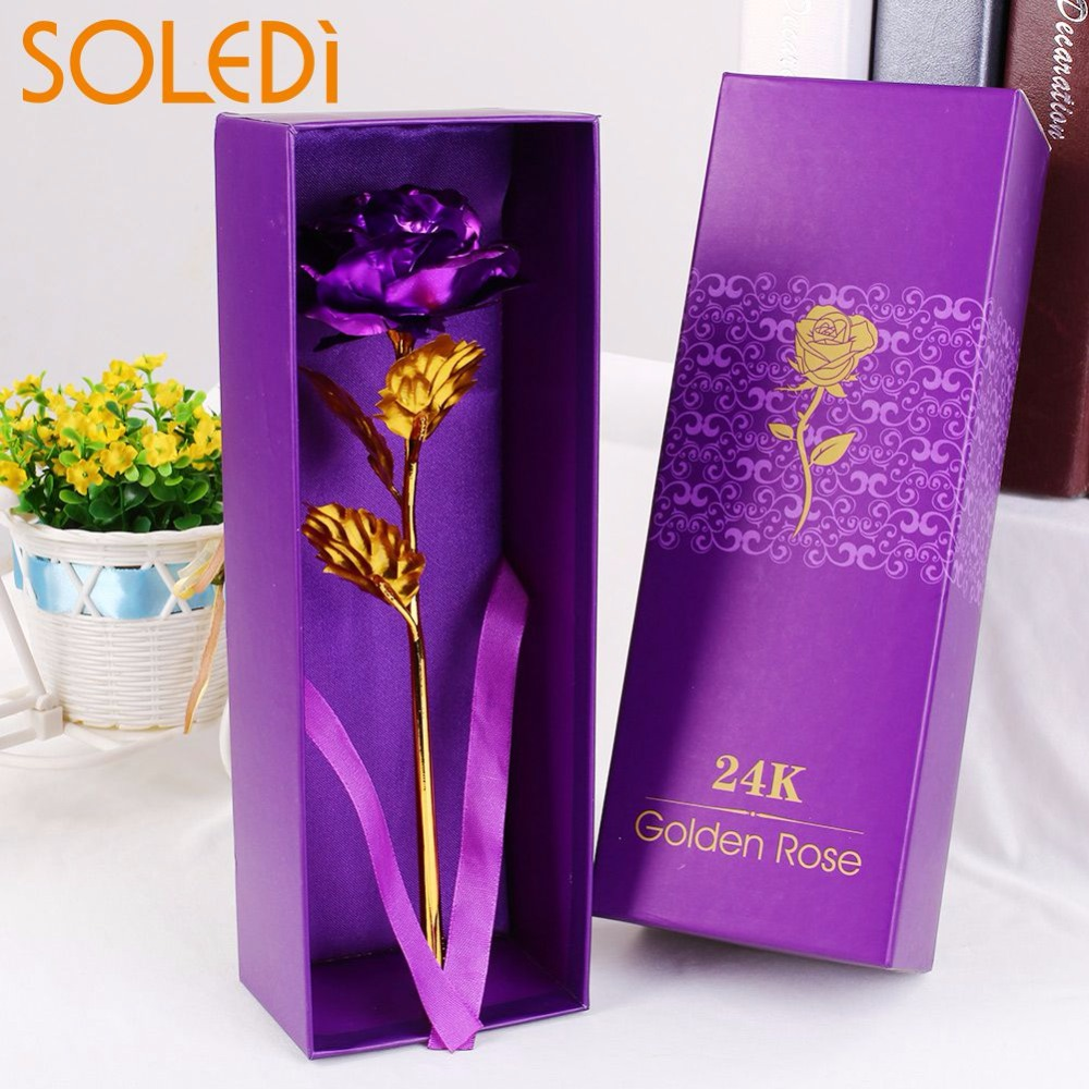 SOLEDI 24 K Oro Placcato Oro Del Fiore della Rosa Regalo di san Valentino Vacanze Decorazione Con La Scatola