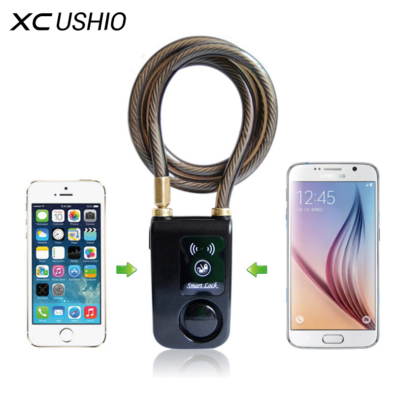 New Super Intelligent Phone APP Control Smart Alarm Bluetooth Lock Waterproof 110dB Alarm Bicycle Lock Outdoor Anti Theft Lock-in Bicycle Lock from Sports & Entertainment
