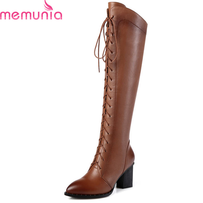 MEMUNIA 2018 NEW fashion shoes woman autumn winter pointed toe genuine leather boots fashion lace up knee high boots prom shoes
