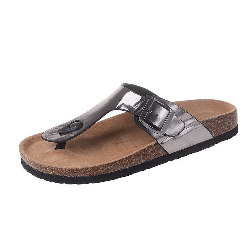 1437f67908e ... Big Size 9 10 42 43 Metal Buckle Cork Sandals Women Belt Strap Babouche  Slides Travel ...