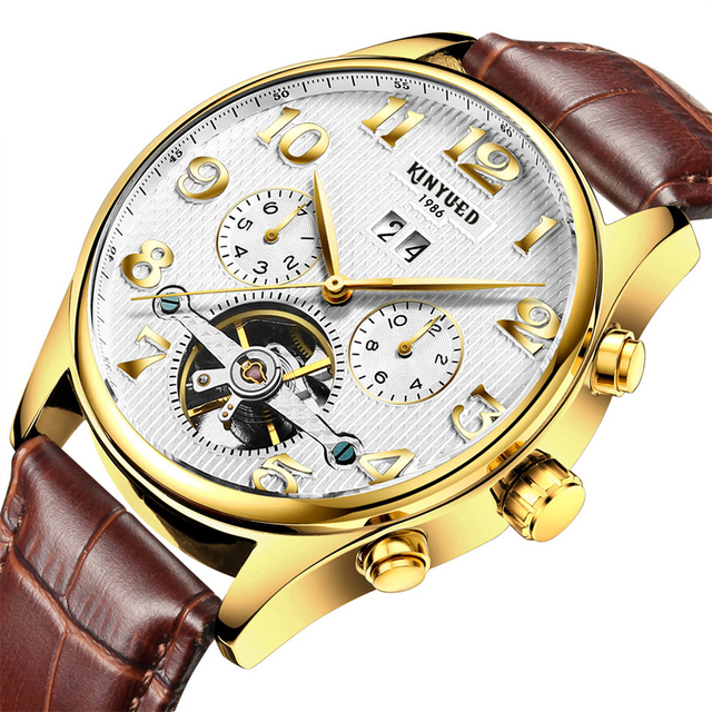 Full Calendar Tourbillon Auto Mechanical Watches Luxury Genuine leather strap Band top famous Male Wristwatch Montre Homme