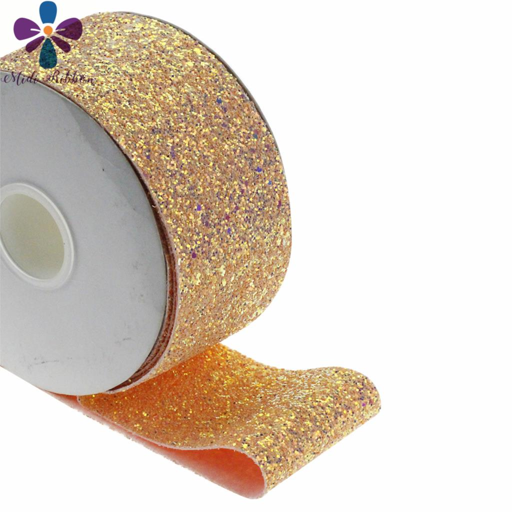 Glitter Shiny Leather Solid Ribbon Fabric DIY Materials 2Yards//roll 3/'/' 75mm