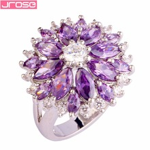 JROSE Wholesale Flower Classic Wedding Created Amethyst & White CZ Silver Plated Ring Size 7 8 9 10 11 12 13 Women Party Jewelry