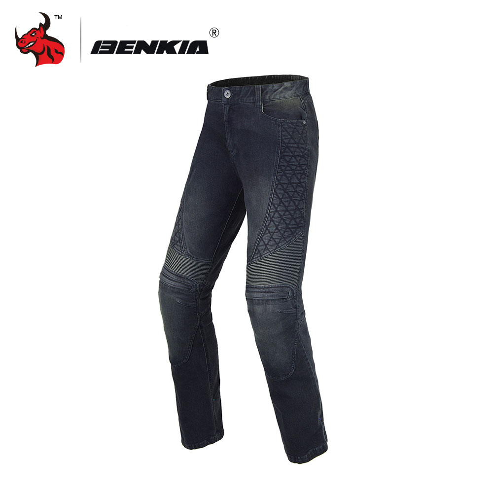 BENKIA Unisex Motorcycle Racing Jeans Black And Blue Motorcycle Racing Denim Jeans Motocross Off-Road Knee Protective Moto Jeans
