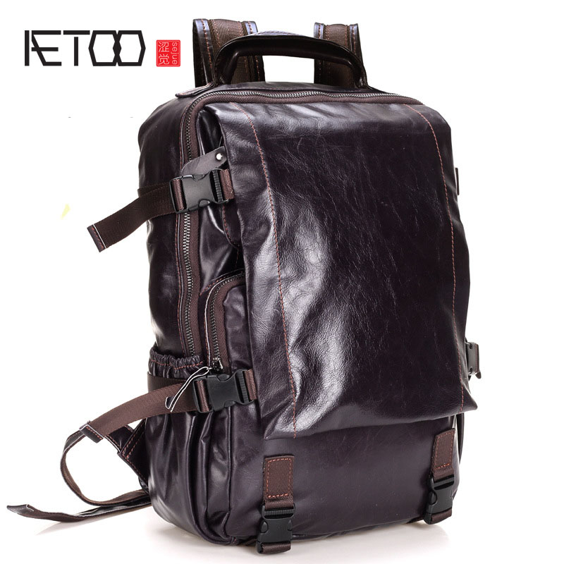 AETOO Men 's Shoulder Bag Computer Backpack Leather Business Travel Bag Head Cushion Casual Student Bag aetoo shoulder bag male leather backpack student bag fashion business computer bag head layer cowhide men and women backpack