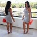 Estilo elegante 2016 vestido del vendaje backless atractivo del mini vestido del vestido ocasional sólido