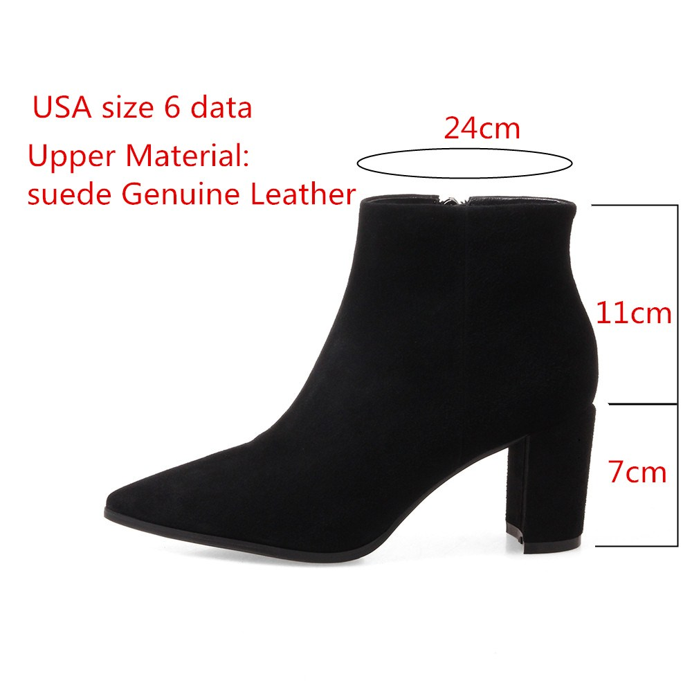 RYVBA Women suede Genuine leather pointed toe Ankle boots womens Autumn winter boots 2018 Woman fashion square high heels shoes 2