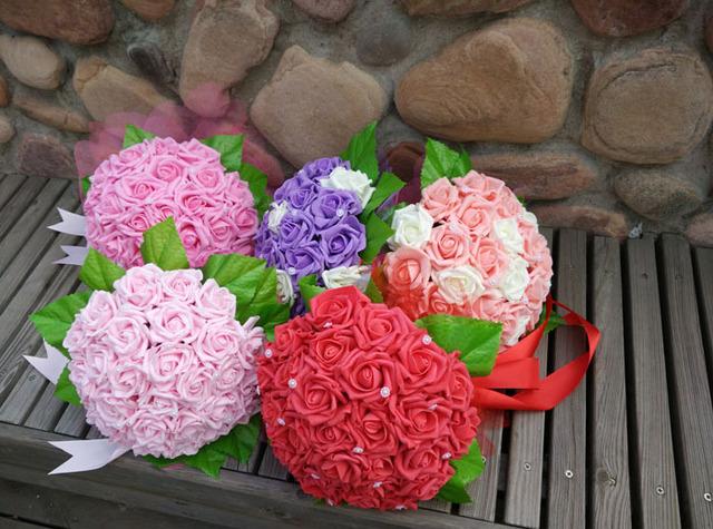 2017 Barato de La Boda Ramo de Novia de dama de Honor Púrpura/Color de Rosa/Rojo/Blanco Colorido Flor Rosa Artificial Novia Ramos de buque de noiva
