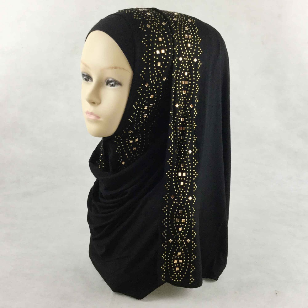 W1 10pcs/lot High quality 100% Cotton jersey cotton hijab   scarf     wrap   shawls rainstone women   scarves   long   wrap   headband