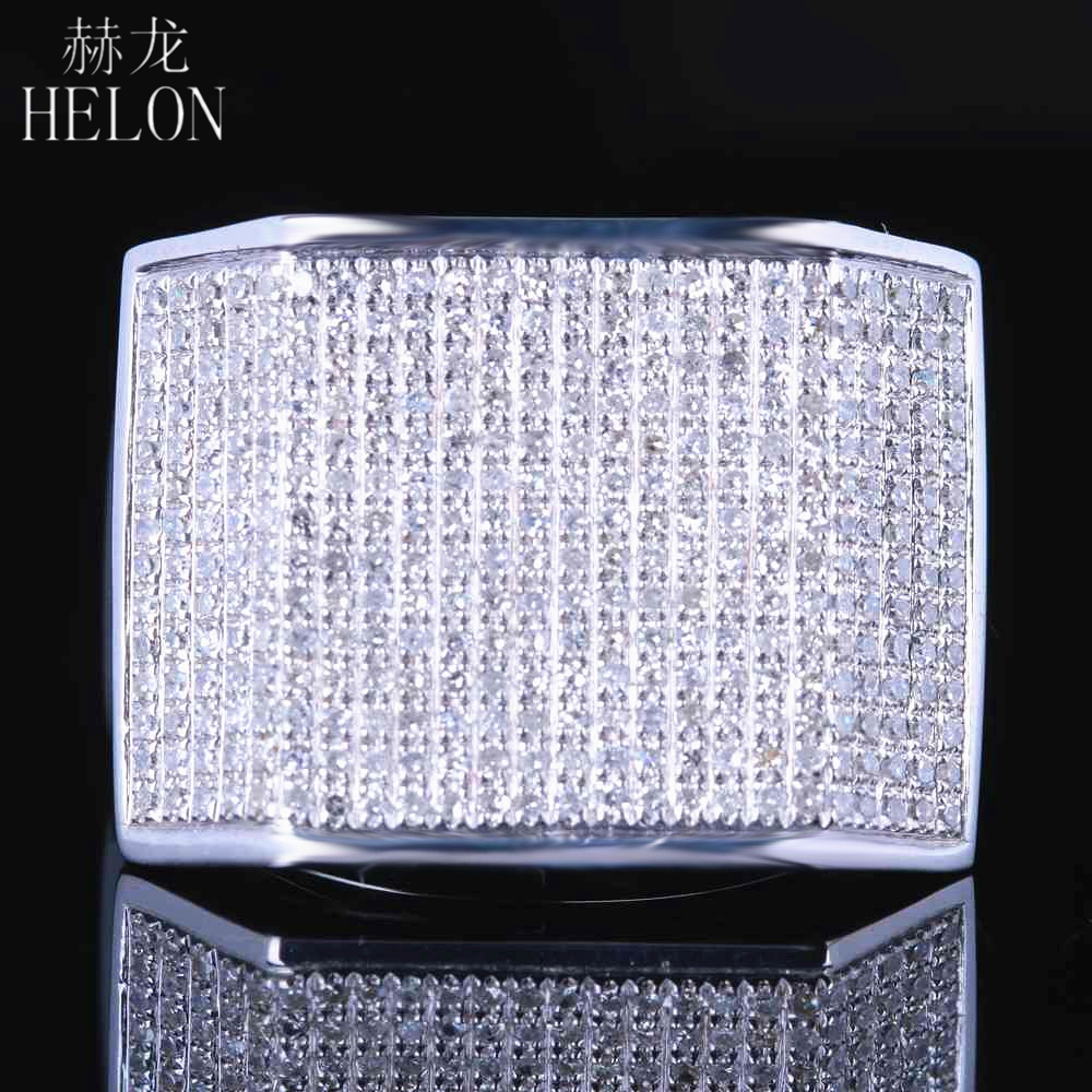 HELON sterling silver 925 Mens Jewelry Pave Round Cut Genuine Natural Diamonds Ring Wedding Fashion Pinky Band Ring 1.2ct