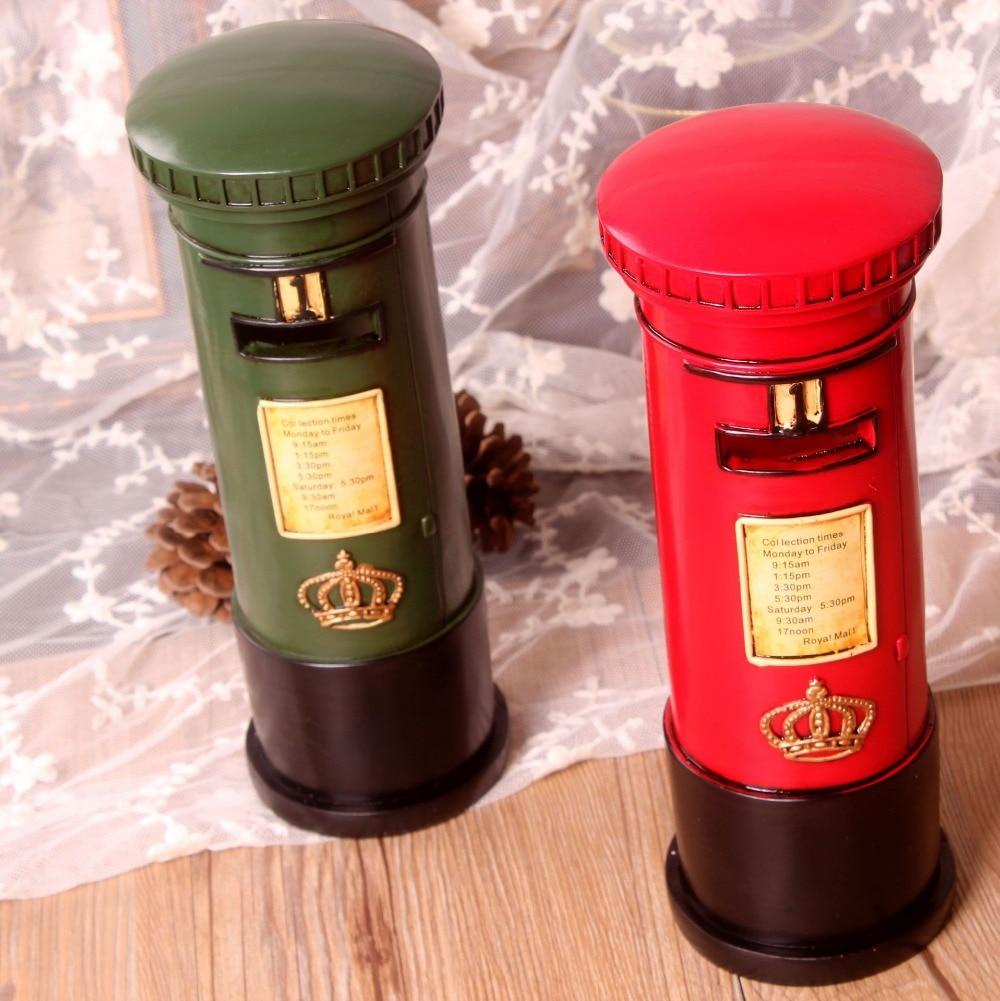 Free Shipping!ENGLAND Style Iron Money Bank ROYAL MAIL Metal Money Saving Box POSTBOX Coin Saver House decoration