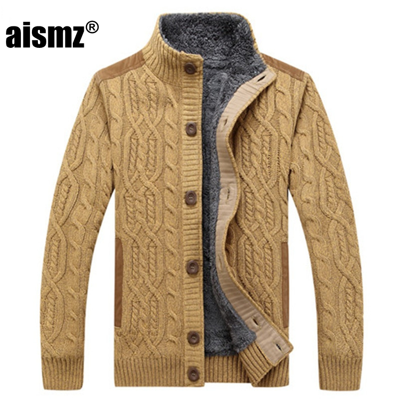 Aismz Men s Sweaters Winter Warm Thick Velvet Sweatercoat Single breasted Casual Cardigan Men Sweaters Pattern