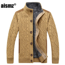 Aismz Men's Sweaters Winter Warm Thick Velvet Sweatercoat Single-breasted Casual Cardigan Men Sweaters Pattern Knitwear 3XL