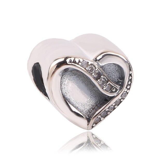 729d9d3f14509 dodocharms Authentic 925 Sterling Silver Footprint Heart Charm Beads Fit  Original Pandora Bracelet Pendants DIY Jewelry Gift