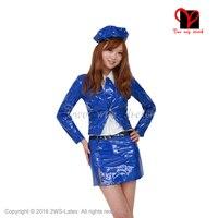 Сексуальное латексное резиновое платье комплекты для Лолиты с шапкой и галстуком юбка и рубашка с длинными рукавами и QZ 078