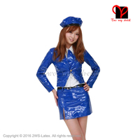 Sexy hostess Latex dress rubber lolita sets with hat tie coat skirt and shirt long sleeves and blets QZ 078