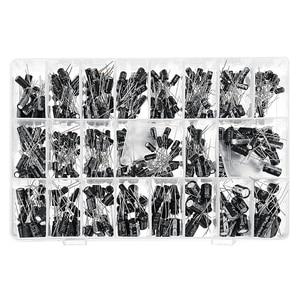 Image 1 - 500 قطعة 16 فولت 50 فولت 24 قيم مكثفات كهربائية مجموعة مع صندوق تخزين 0.1 فائق التوهج 1000 فائق التوهج الألومنيوم السلبي توريد مكونات المكثفات