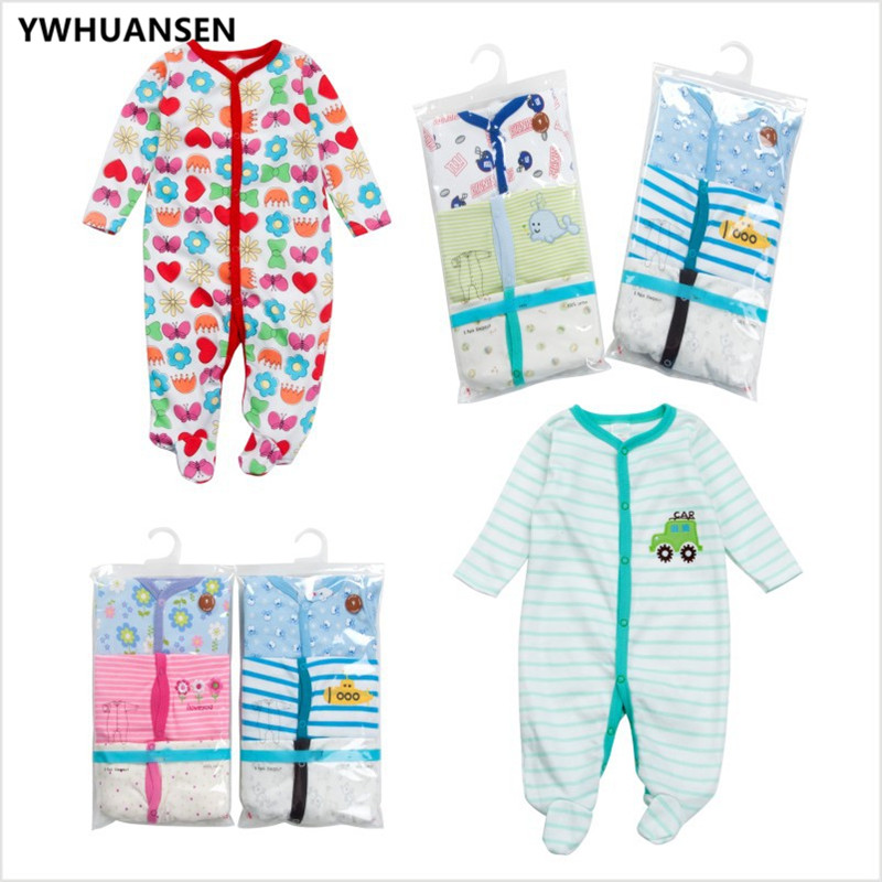 YWHUANSEN 3pcs/lot Cotton Long Sleeve Footies For Babies 0-3 Months Cute Baby Girl Clothes Boys Sliders New Born Body Overalls ...