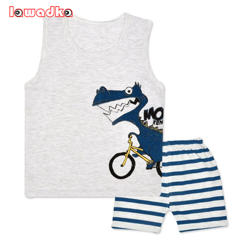 Cartoon Summer Baby Boy Clothing Set Tank Vest Top + Shorts Kid Boy Summer Sleeveless Set Children Boy Clothes Set 2017 new pattern small children s garment baby twinset summer motion leisure time digital vest shorts basketball suit