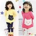 Navio livre Novo 2016 Meninas Define Roupa Dos Miúdos 3 ~ 10Age gatos Crianças primavera + outono 2 pcs Set meninas vestuário define shirt + calças