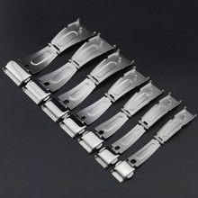 Double Click Buckle Watch Push Button Fold Deployment Clasp Silver Watchband Strap 12/13/14/15/16/17/18/19/20/21/22/24mm стоимость