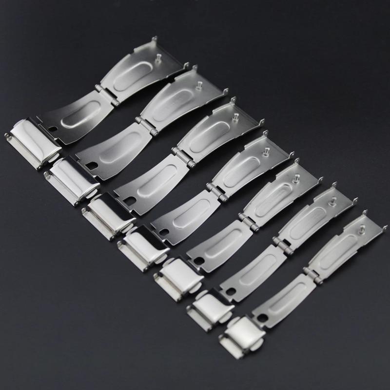 Dubbele Klik Gesp Horloge Drukknop Vouw Deployment Sluiting Zilveren Horlogeband Strap 12/13/14/15/16/17/18/19/20/21/22/24mm