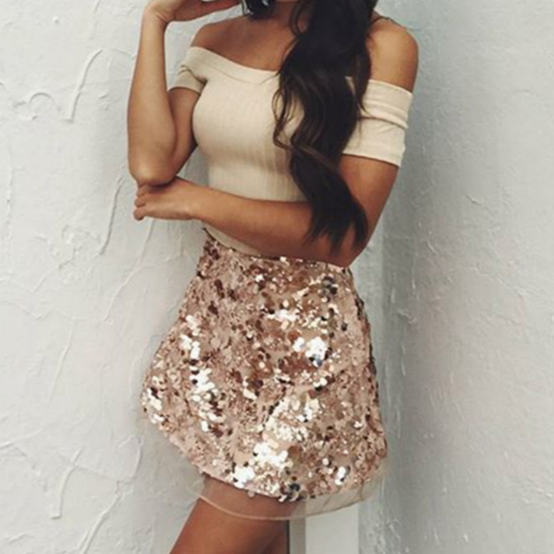 2018 New Shiny Sequined Women Fashion <font><b>Rose</b></font> <font><b>Gold</b></font> Lace Vintage Sexy Ladies A Line Bling Party Club Mini <font><b>Skirts</b></font> image