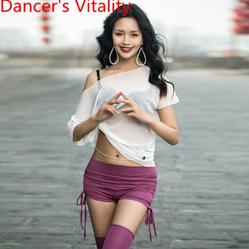 Spring Summer New Belly Dance Practice Clothes Garments Sexy Mesh Perspective Top Shorts Socks Indian Oriental Dancing Sets