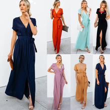 New Women Sexy V-neck Short Sleeve Long Dresses High Slit Tunic Summer Beach Dress Casual Femme Vestidos Lady Clothing недорого