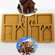 Silicona Navidad Del Molde Del Chocolate Torta de formación de Hielo Decoración de pasteles de Chocolate Casa de pan de Jengibre Molde de Silicona Paquete X1