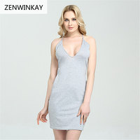 2017 Ladies Women Casual Sexy Strap Slip Sleeveless V Neck Solid Bandage Hollow Out Pencil Dress