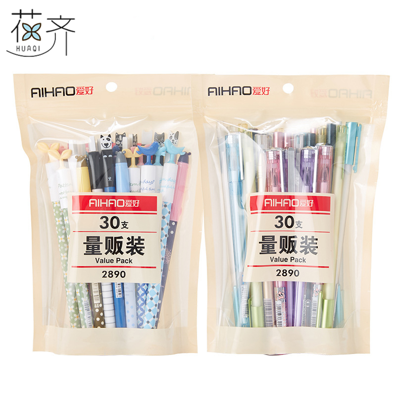 huaqi 30 pcs  Kawaii gel pen value pack Cute designs Blue & Black color 0.35 0.5mm ballpoint Stationery Office school supplies 4 pack 30xl 30 xl black