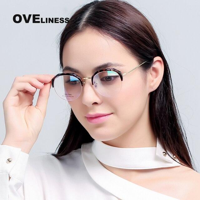 d70dc5618e1 High Quality New women Half Rim Glasses eyeglasses frame prescription  designer brand clear optical myopia eyewear
