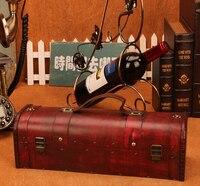 Vintage archaistic Wino Czerwone Pole Przenośny Wood Wine Box Retro Prezent pudełko Do Przechowywania Wina Butelka Pakiety Wth Handle Bar Akcesoria