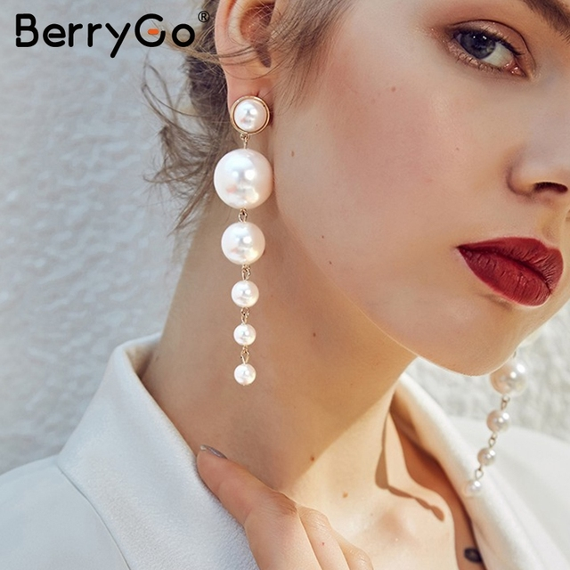 df36a15351 US $5.99 40% OFF|BerryGo Fine chic pearl drop women accessories Fashion  statement streetwear accessories Party pendant female accessories 2018-in  ...