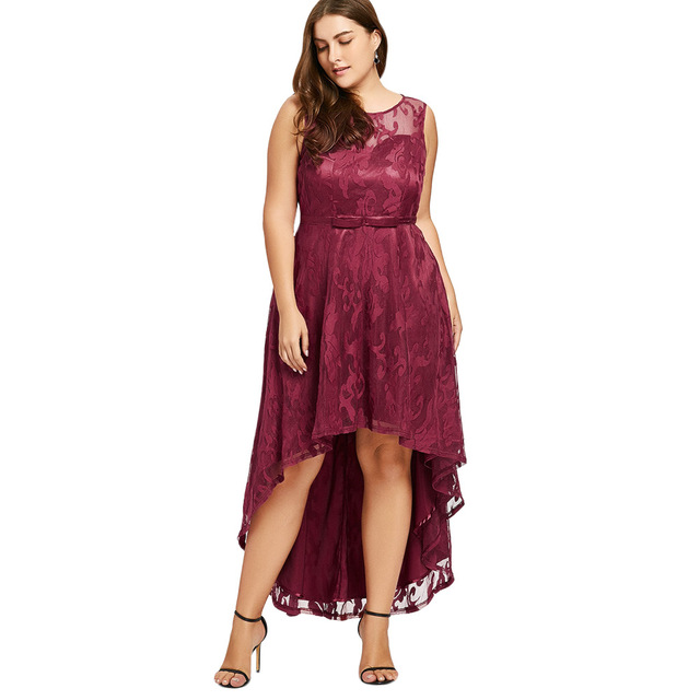 2018 New Evening Party Dress Plus Size Women High Low Dress Round ...