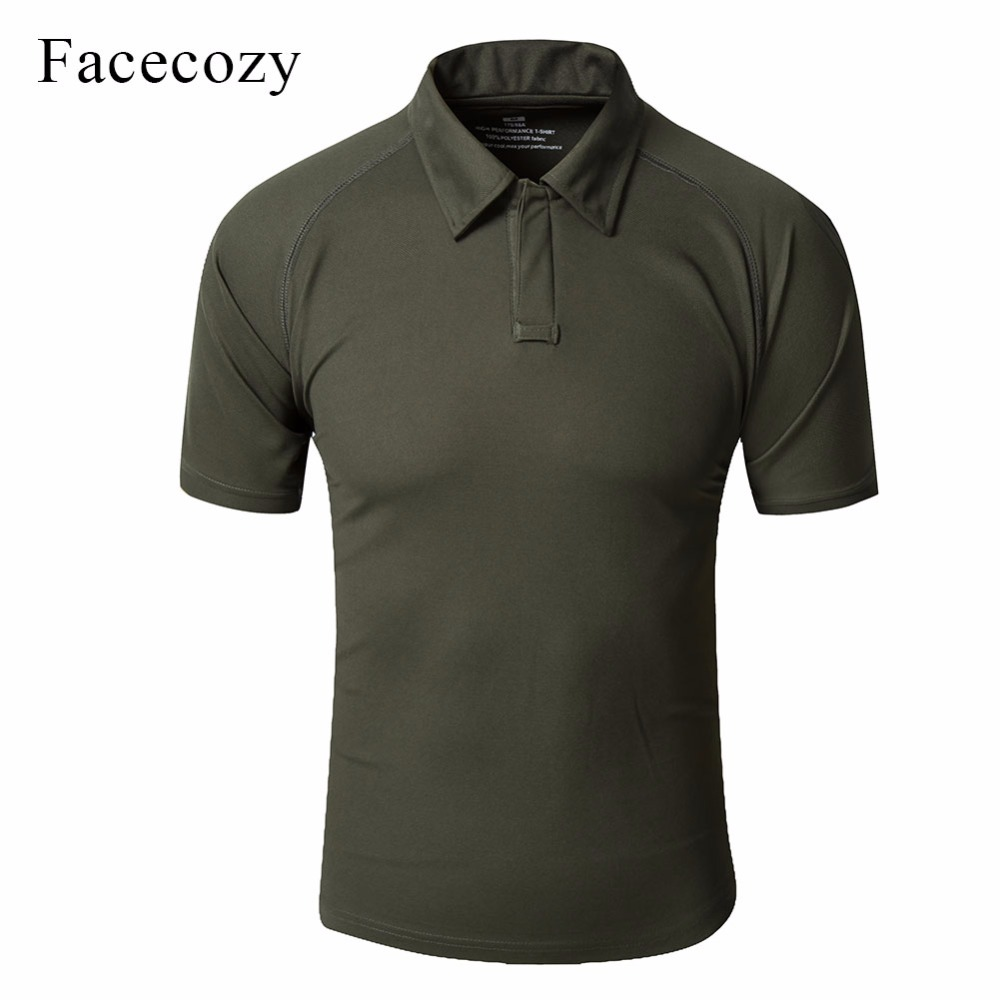 Facecozy Men Summer Outdoor Sports Polo Shirts Comfort Polyester Breathable Military Tactical T-shirts Short Sleeved Hiking Tees