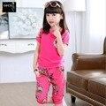 2016 Новый Продажа Летом Пункт Корейских Детей костюм детские Спортивные Костюмы С Короткими рукавами Цветочные Девочек Костюм 2 Шт. 3-15Year