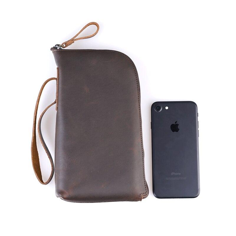 Для мужчин длинные Для мужчин кожаный кошелек на молнии кошельки Мужской Организатор кошелек с Handwrist