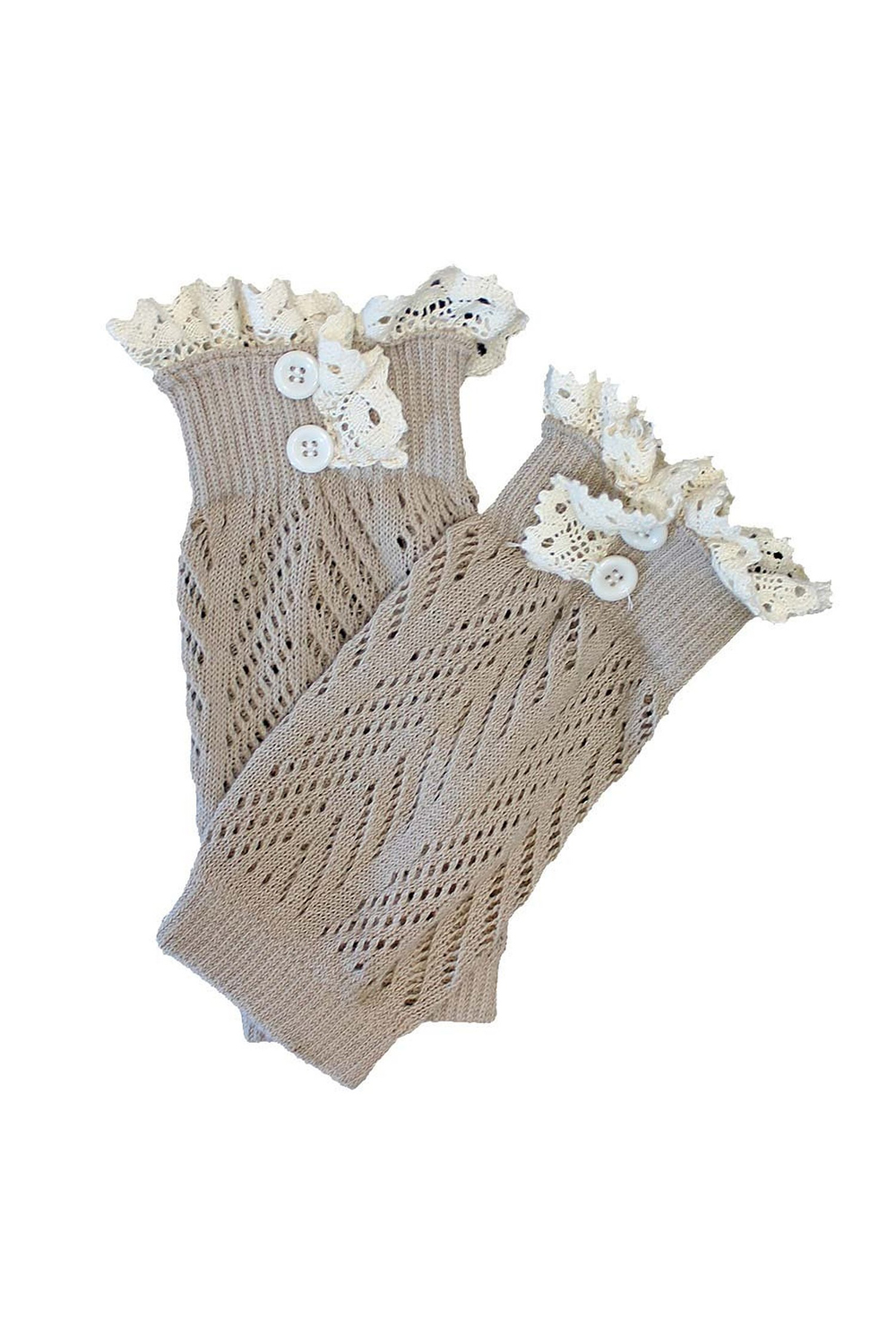 Knit Boot Cuff Liner With Lace Trim