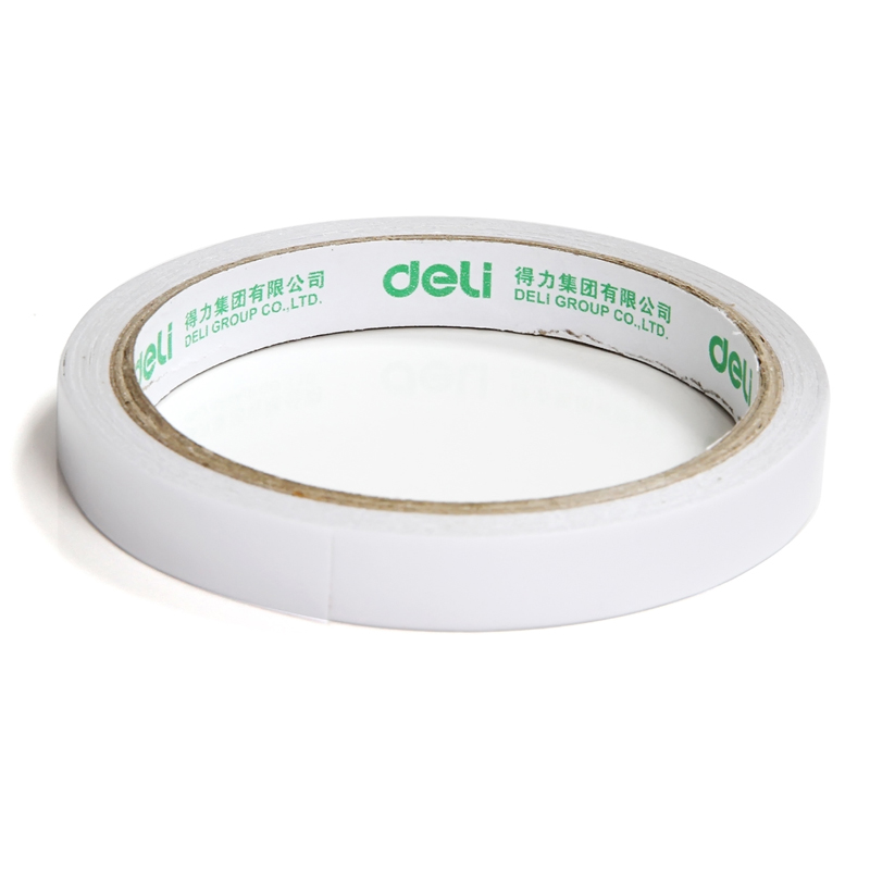 Deli 12mm x 10y / 12mm x 9.1m Double-Sided Tape White Strong Sticky Glue Tape Powerful Doubles Faced Adhesive For Office 1 pcs deli 2 4cm 10y super slim strong adhesion white double sided tape doubles faced adhesive for office supplies