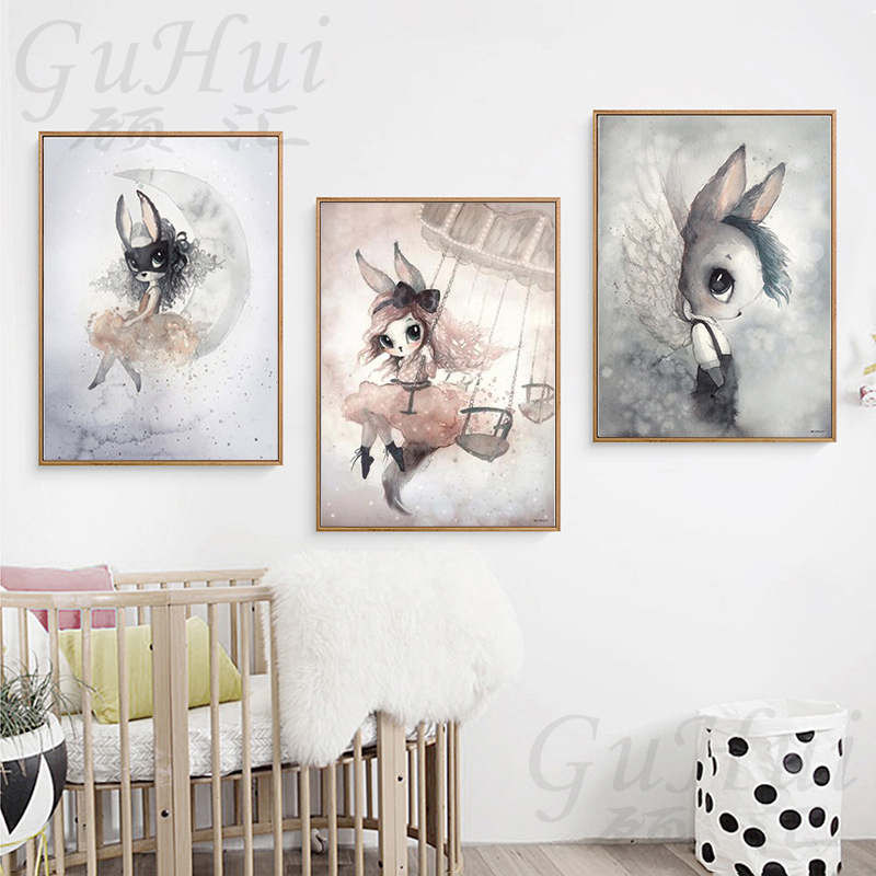 Modern Rabbit Girls Angel Cartoon Canvas Painting Spray Color Art Poster Kids Baby Nursery Room Scandinavian Wall Murals