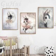 Modern Rabbit Girls Angel Cartoon Canvas Painting Spray Color Art Poster Kids Baby Nursery Room Scandinavian