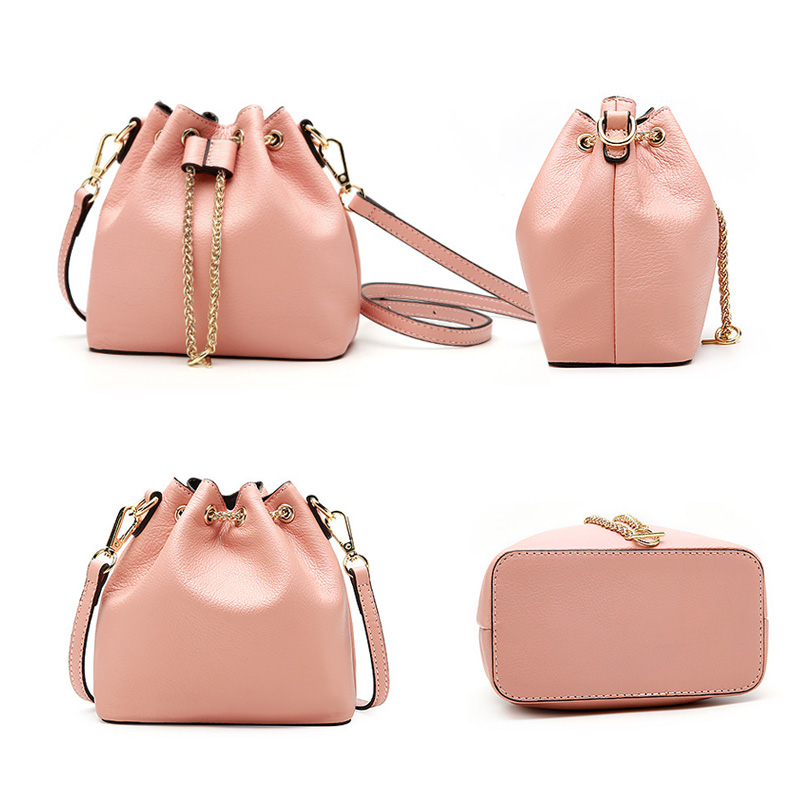 Women Mini Bag Fashion Popular Chain String Bucket Bags Sweet Girls Pink Bag Summer Green Single Shoulder Bag Silver Handbags in Top Handle Bags from Luggage Bags