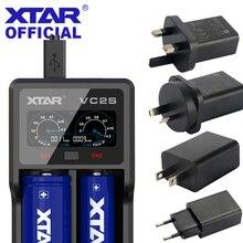 XTAR pantalla LCD VC2S VA, cargador tipo batería externa portátil alimentada por micro usb, para cargador 3,6 V/3,7 V Li ion/IMR/INR/ICR 26650 18650
