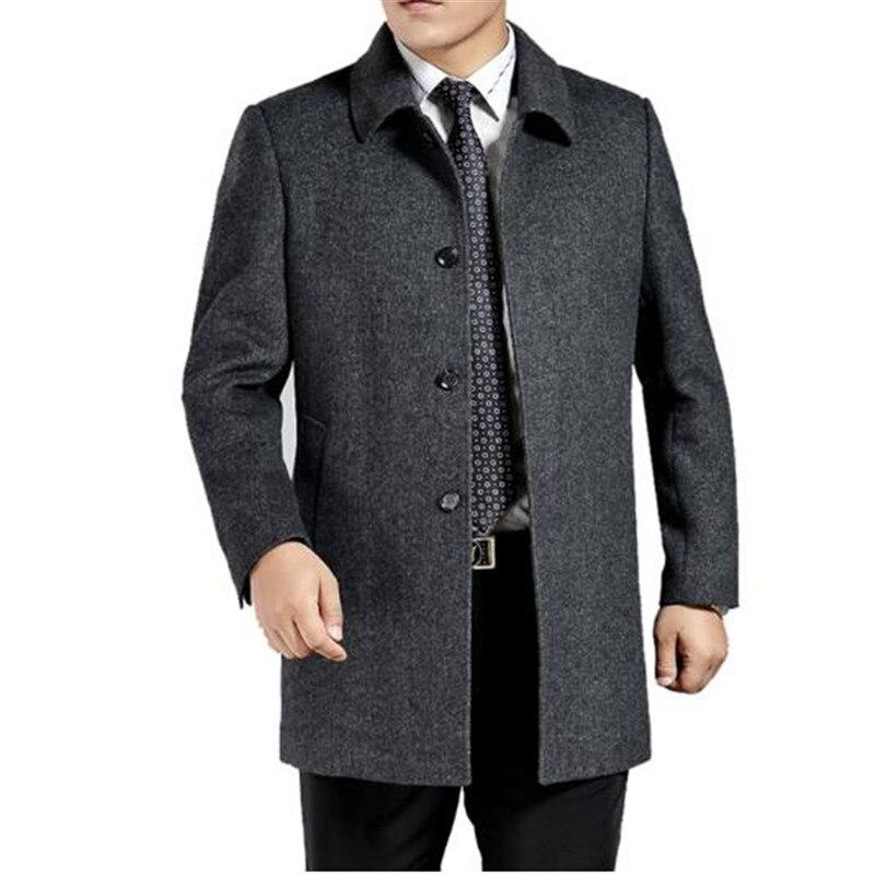 Мужское кашемировое пальто среднего возраста, мужской шерстяной Тренч с отложным воротником, однобортная шерстяная верхняя одежда, новинк... - 2